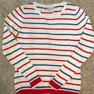 J. Crew Mercantile White Striped Crewneck Sweater